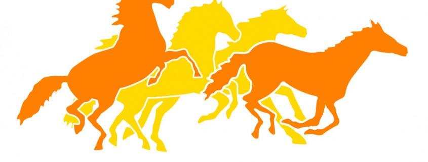 Orange and Yellow Horses on White.jpg